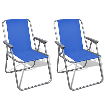 Outdoor 2pc Blue Portable Fishing Chair Camping Seat Folding Hiking Stool Travel