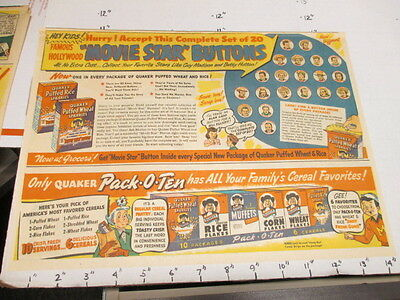 newspaper ad 1940s Quaker movie star cowboy button cereal box premium Fire Twigg