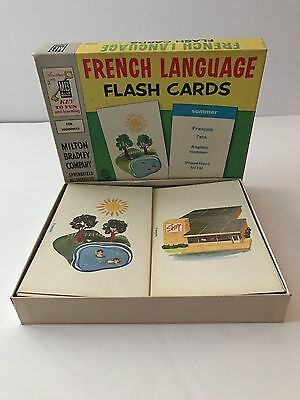 RARE Vintage Milton Bradley FRENCH LANGUAGE Flash Cards 1960's Graphics COMPLETE