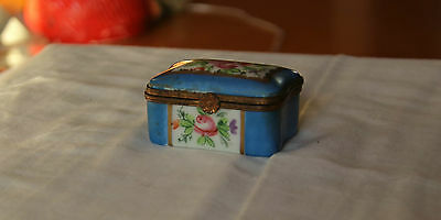 Old French Sevres Flower Painted Trinket or Pill  Box