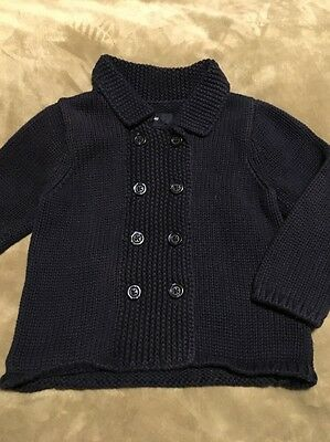 Baby GAP 12 - 18 months navy blue cardigan sweater EUC Unisex Boys Girls Spring