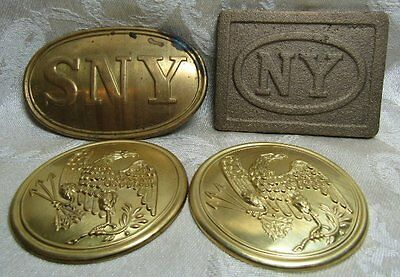 Civil War REPRODUCTION State Of New York, Army Infantry Belt Buckles Lot Of 4