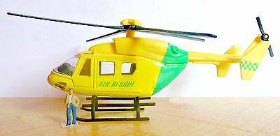 OO gauge helicopter ambulance scenery diorama for model train layout.