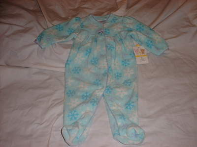 SMALL WONDERS Snowflakes Fleece Winter Girl's Footed Pajamas 3-6 Months *NWT!*