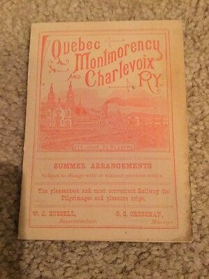 Quebec Montmorency Charlevoix Railway 1895 Summer Schedule Timetable Time Table