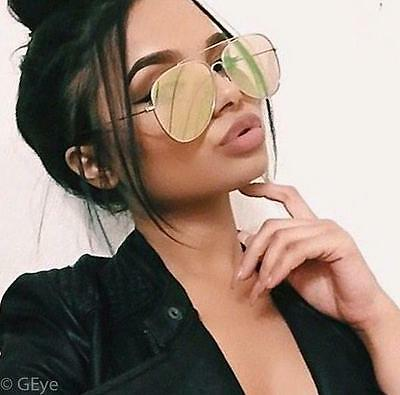 Large Flat Pink Rose Peach Yellow Mirror Lens Gold Frame Aviator Sunglasses 4011