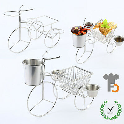 Mini Three-Wheeler with a Fry Basket&Pail,2 pcs Sauce Cups,Desk Decoration F0102