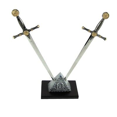 Masonic Dual Dagger Sword Shaped Letter Opener Desk Set &Freemason Display Stand