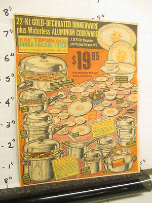 newspaper ad 1966 DuPont TEFLON waterless cookware fryer pan plate bowl skillet