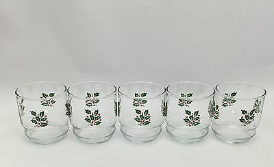 "5 Indiana On The Rocks Holiday Christmas Holly Berry Glass Glasses 3 3/8""High"