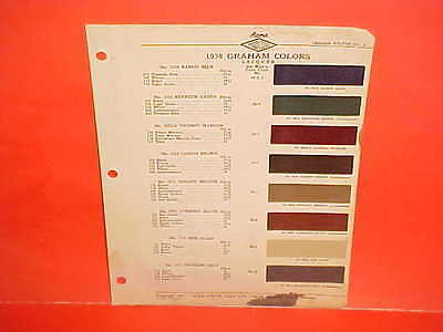 1938 Graham Model 96 Custom Supercharged 97 Paint Chips Color Chart Brochure 38
