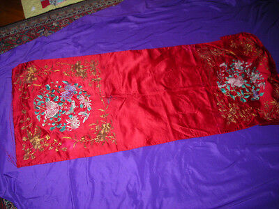 Antique 19Th C. Chinese Silk Textile Hand Embroidered Seat Cover 20X56