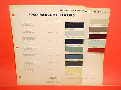 1950 Mercury Monterey Convertible Club Coupe Sedan Station Wagon Paint Chips 50