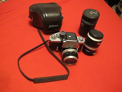 Nikon F2 with auto vemar 135mm lens and 50mm nikkor-s lens