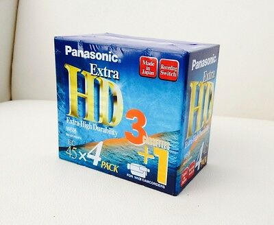 BRAND NEW Panasonic EC-45 Extra HD VHS Video Cassette Tapes 4 Pack