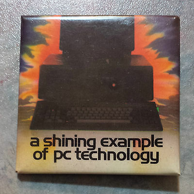 """A Shining Example of PC Technology Advertising Pinback 1980s 2"""" Square"""