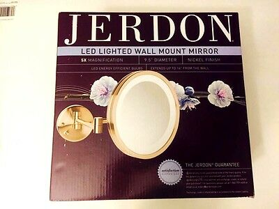 Jerdon  9.5 In LED Lighted Wall Mount Makeup Mirror 5X 9.5 Diameter