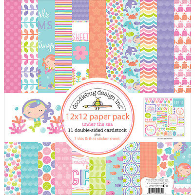 """""""Doodlebug Double-Sided Paper Pack 12""""""""X12""""""""-Under The Sea"""""""