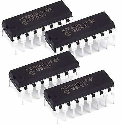 Microchip MCP3008-I/P MCP3008 8-Channel 10-Bit A/D Converters SPI New IC