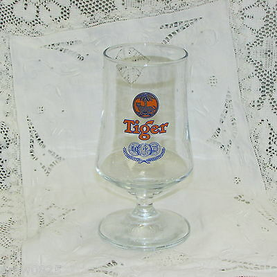 Tiger Beer Glass Three Medals Old Logo Footed Vintage Breweriana Advertising