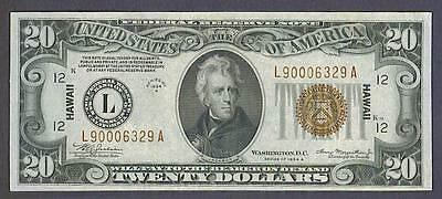 $20 1934A Beautiful AU HAWAII San Francisco Federal Reserve Note!