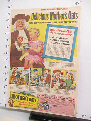 newspaper ad 1947 American Weekly QUAKER Mother's Oats cereal box basketball