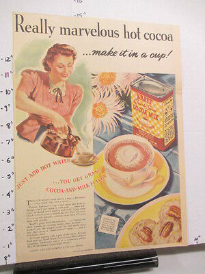 newspaper ad 1940s KRAFT COCOA MIX hot chocolate drink WWII American Weekly