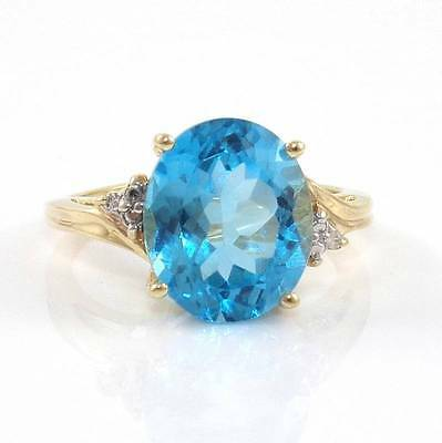 10K Yellow Gold Natural Diamond Blue Topaz Cocktail Ring Size 7.5