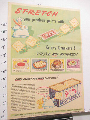 newspaper ad 1940s SUNSHINE CRACKERS WWII American Weekly STRETCH rations