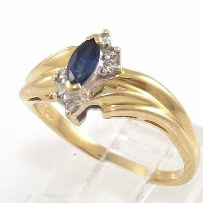 Solid 14K Yellow Gold Natural Diamond Blue Sapphire Ring Size 8.25