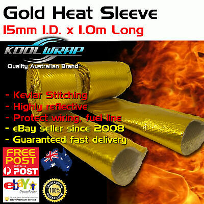 Gold Foil Heat Resistant Sleeve Hose Wrap Tube Reflective Shield 15mm ID x 1m