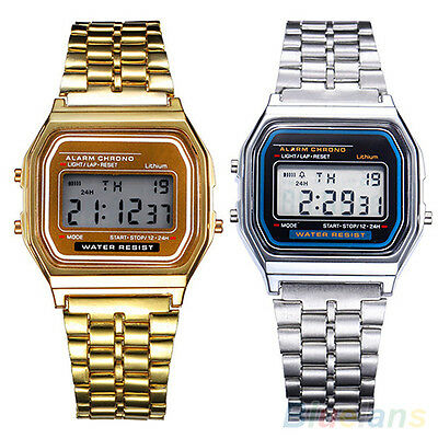 Men's Women's Stainless Steel LCD Digital Sports Stopwatch Wrist Watch Novelty