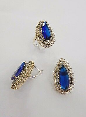 Sterling 925 Silver Jewelry Handmade Fabulous Blue Sapphire Earring & Ring Set