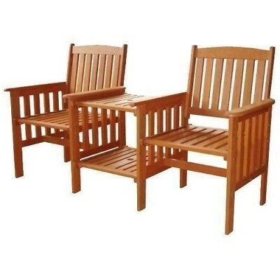 Garden Companion Love Bench Set Wooden Seat 2 Chair with Table  Patio Furniture