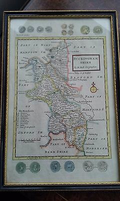 Antique Hand Coloured Map Of Buckinghamshire, By H. Moll