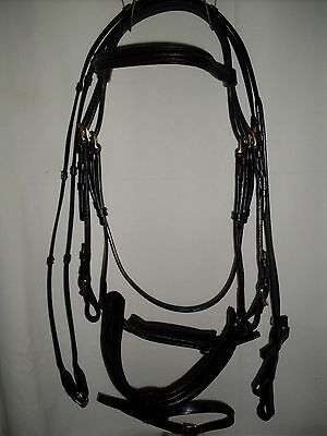 *** Lovely Black Stitched Bridle - Flexi Fit - Brass Buckles - Full Size New ***