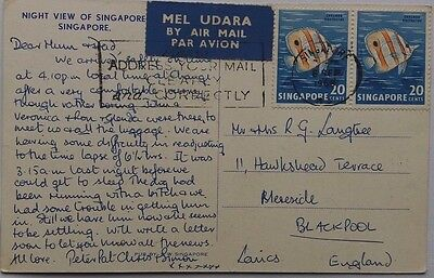 Singapore 1968 Picture Post Card Showing Night View Sent Airmail To England