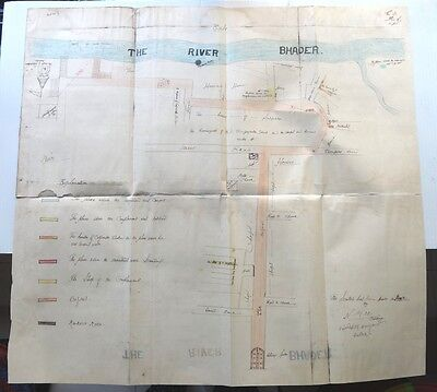 """India hand drawn / colored map of River Bhader & unamed town  25.5"""" x 27"""""""