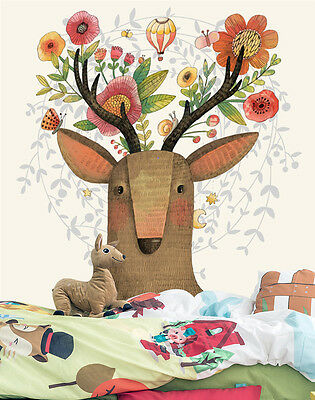 3D Flowers Antlers Wall Paper Murals Wall Print Decal Wall Deco AJ WALLPAPE