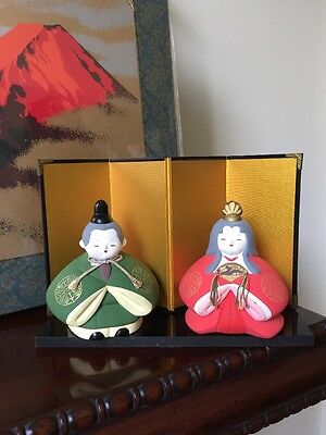 Japanese Bisque Hina Dolls and Stand from Yamagata