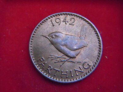 1942 Uncirculated George V1 Farthing With Lustre From My Collection [F22]