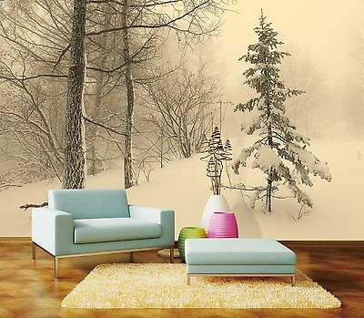 3D Snowy ForestPainting Wall Paper Murals Wall Print Decal Wall Deco AJ WALLPAPE
