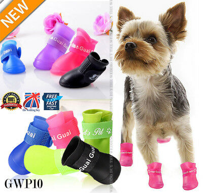 4Pcs Dog Puppy Rain Boots Booties PVC Shoes Waterproof Protective S/M/L GWP10