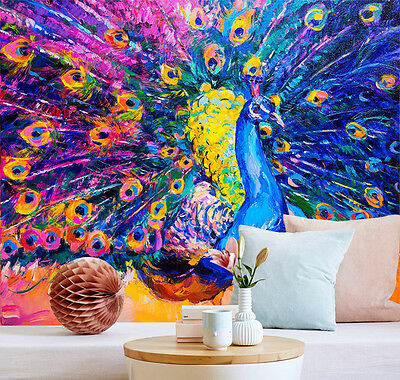 3D Open Peacock Paint Wall Paper Murals Wall Print Decal Wall Deco AJ WALLPAPE