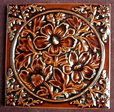 Perfect Antique Majolica embossed Tile c1885 GODWIN