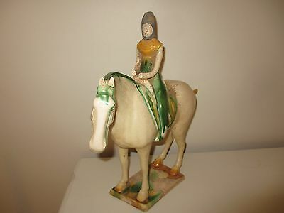 Antique Vintage Chinese Tang Dynasty Horse & Woman Rider Pottery Statue Estate