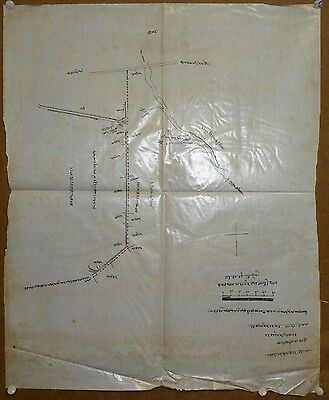 """India 1898 hand drawn hand colored map on cloth like paper 18.5"""" x 23"""""""