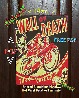 Wall of Death Thrills n Chills Repro Ali Sign 14cm x 19cm  Fairground Showman
