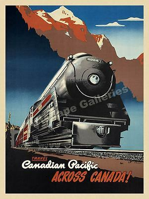 1947 Across Canada Vintage Style Railroad Travel Poster - 20x28