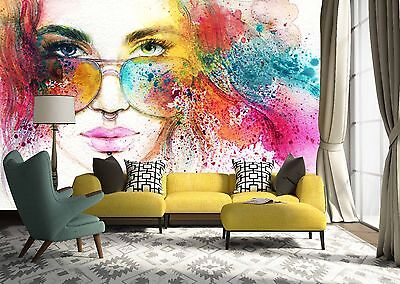 3D Painted Girl  Wall Paper Murals Wall Print Decal Wall Deco AJ WALLPAPE